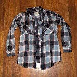 Oversized Blue White and Maroon Flannel